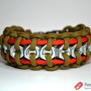 "Paracord'o apyrankė ""Hex Nut"" (Coyote Brown & Red)"