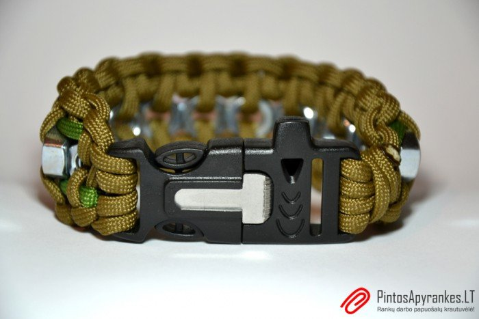 "Paracord'o apyrankė ""Hex Nut"" (Coyote Brown & Green)"